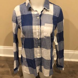 Old Navy Plaid Blouse Top Size XS Blue White New